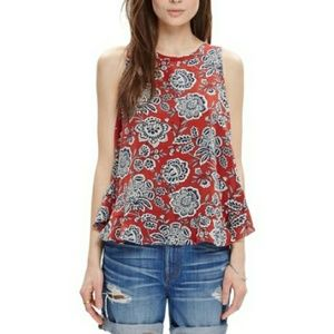 Madewell silk floral tank top tie back large